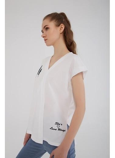 Modaset Nakış Işlemeli Bluz Beyaz Beyaz